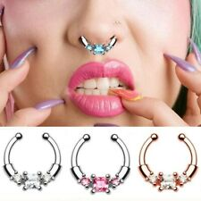 Fashion Crystal Fake Nose Ring Clicker Septum Clip Hoop Faux Piercing Jewelry