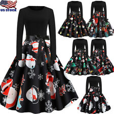 Women Vintage Dress Long Sleeve Ladies Evening Party Cocktail Floral Christmas