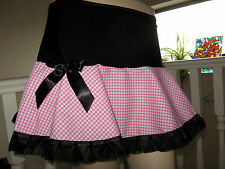 New Black Pink white gingham check Frilly Skirt Lolita Goth Rock Party Dance