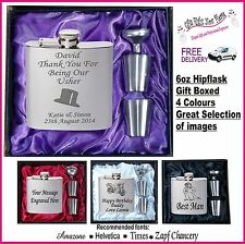 Engraved Hip Flask Best Man - Usher - Groom Gift Boxed