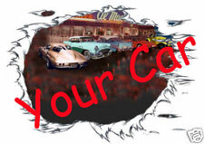 CUSTOM T-SHIRT with YOUR CAR & DINER Set Up & T- Shirt