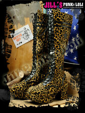 Punk 21-Hole Star Knee-high Racing Boots leopard 39~41 3003