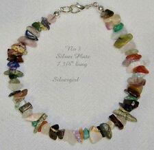 Multiple Gemstone Chip Bracelets, Clasp, Stretch, Mother of Pearl