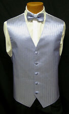 Mens Blue Herringbone Fullback Vest & Matching Bow Tie Wedding Prom