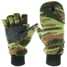 Thinsulate Lined Camo Fleece Hunting Mitts Fingerless Gloves Reinforced Palm