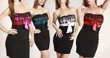 New Designer satin Bow Tube Fitted Lace Strapless Evening Cocktail Party Dress