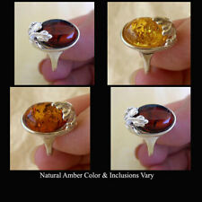 BALTIC GREEN, CITRINE, CHERRY or HONEY AMBER STERLING SILVER LEAF RING