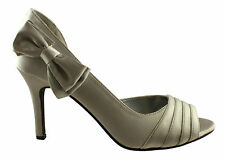 DONNA VELENTA HEATHER WOMENS/LADIES SHOES/HEELS SILVER SATIN EVENING/DRESS
