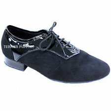 TPS Men's Black Patent Leather & Suede Latin Ballroom Dance Shoes All Sizes M48