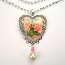 "PINK ROSE HEART LOVE ""VINTAGE CHARM"" ART GLASS PENDANT NECKLACE"