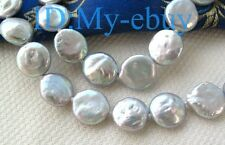 Luster 12mm  Silver Gray Rainbow Coin Freshwater Pearl Necklace
