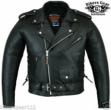 NEW MENS CLASSIC A GRADE LEATHER BRANDO BIKER MOTORCYCLE JACKET SMALL - 10XL