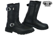 NEW MENS ENGINEER 2 BUCKLE ZIP UP SIDE A GRADE LEATHER MOTORCYCLE BOOTS AU 10