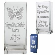 Engraved 22cm Rectangle Vase 70th 75th 80th 85th 90th  Birthday Gift Present