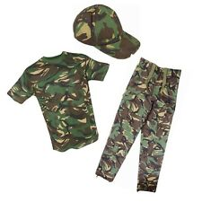 Kids Boys Army Camo Outfit T-Shirt Trousers & Cap Fancy Dress Up Costume Soldier