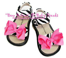 Squeaky Shoes Black White Zebra Animal Print Add A Bow Sandal Hot Pink Bows