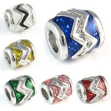 Wave Symbol Silver Enamel European Spacer Charm Bead For Bracelet Necklace