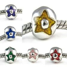 Star Silver European Spacer Charm Bead For Bracelet Necklace