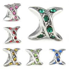 Silver X Cubic Zirconia European Spacer Charm Bead For Bracelet Necklace