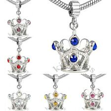 Tiara Crown Silver Crystal CZ Dangle European Charm Bead For Bracelet Necklace