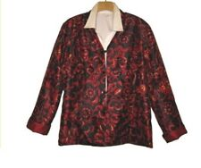 $89 Coldwater creek women's party evening red Reversible 2 jacket size L M PXL