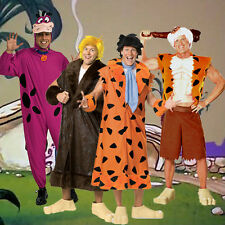 Adult TV Show The Flintstones Fred Barney Rubble Bamm-Bamm Dino Deluxe Costume