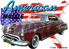 1949 Red Oldsmobile Convertible Custom Hot Rod USA T-Shirt 49, Muscle Car Tee's