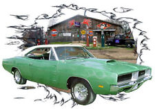 1969 Green Dodge Charger RT Custom Hot Rod Garage T-Shirt 69, Muscle Car Tee's