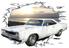 1968 White Plymouth Road Runner Custom Hot Rod Sun Set T-Shirt 68, Muscle Car T