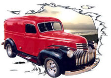 1946 Red Chevy Panel Truck Custom Hot Rod Sun Set T-Shirt 46, Muscle Car Tee's