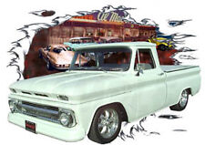 1965 White Chevy Pickup Truck Custom Hot Rod Diner T-Shirt 65,66,64 Muscle Car T