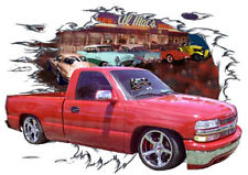 2000 Red Chevy Pickup Truck Custom Hot Rod Diner T-Shirt 00, Muscle Car Tee's