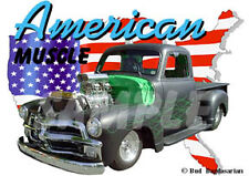 1954 Black Chevy Blown Pickup Truck Custom Hot Rod USA T-Shirt 54, Muscle Car T