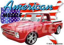 1967 Red Chevy Pickup Truck Custom Hot Rod USA T-Shirt 67, Muscle Car Tee's