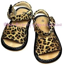 Squeaky Shoes Girls Sandal Velcro Soft Sole Black Brown Leopard Cheetah Nice!