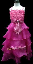 Hot Pink Rosette Wedding Flower Girls Pageant Dress Long Gown Size 3-12 Age 2-13
