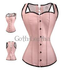 Pink GOTH Boned Style CORSET Bustier Vegan Faux Leather S-6XL Clubwear A2671