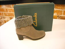 Clarks Dream Darling Grey Suede Cuff Ankle Boots
