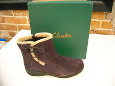 Clarks Madi Bendables Purple Suede Bow Ankle Boots