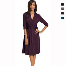 Fluid Wrap Jersey Dress with Sleeve Day Night Cocktail Party Wear co4028