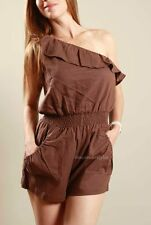 SEXY Boho Casual Chic One Shoulder Ruffle Shorts Jumper Romper Jumpsuit Outfit