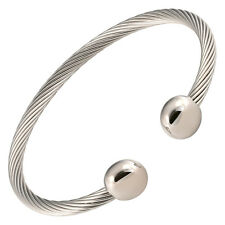 New Magnetic Bracelet High Power Pain Golf Cuff Stainless Steel Wire Silver End
