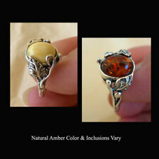 BALTIC BUTTERSCOTCH GREEN or HONEY AMBER & STERLING SILVER LEAF RING