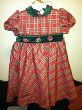Little Bitty boutique Holiday Christmas girl's dress red plaid taffeta NEW $65