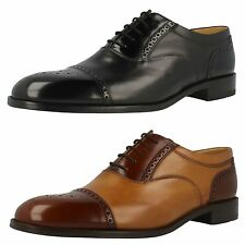 MENS LOAKES CALF LEATHER LACE UP SHOE (WOODSTOCK ) IN BLACK AND TAN  G WIDTH FIT