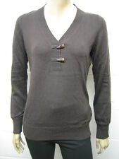 Womens ESPRIT Fine Knit Y Neck Horn Button Jumper Brown Size 10 - 20 Ladies WJ30