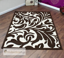 Brown And Cream Damask Budget Modern Floor Rug- 6 Sizes