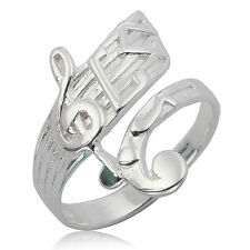 BEAUTIFUL HANDMADE MUSICAL NOTATION RING WHITE 925 STERLING SILVER