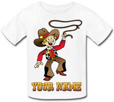 COWBOY PERSONALISED KIDS T-SHIRT - GREAT GIFT FOR ANY CHILD & NAMED TOO
