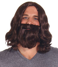 Stylish Adult Men Boys Brown Biblical  Beard Jesus Wig/Short Men Party Full Wigs
